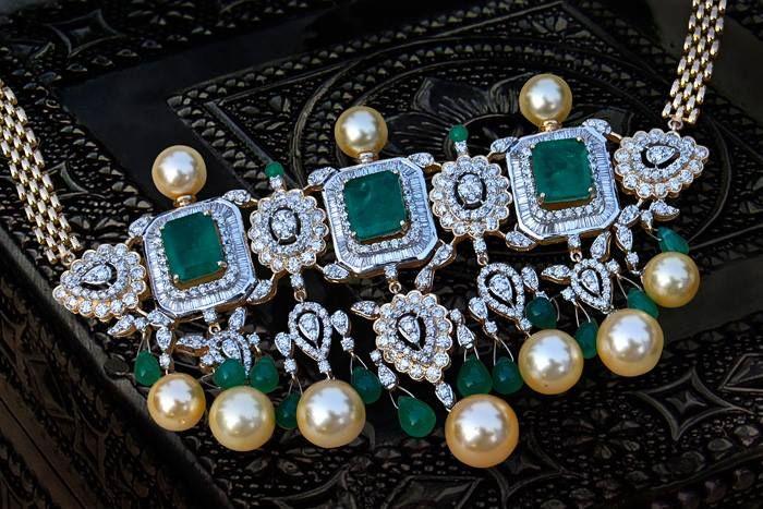 Emerald and Diamond Choker/Timaniya with South Sea Pearls by Talwar Jewellers