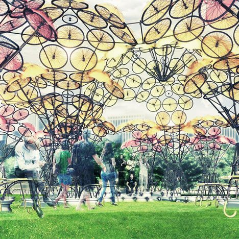 Two pavilions – one made out of bicycle wheels, and one from materials used in oyster cultivation – will be installed on New York's Governors Island.