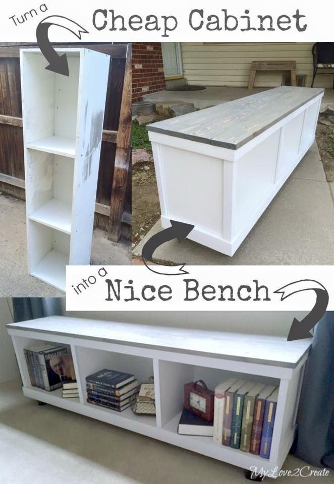 Upcycled Cabinet Bench Bookshelf Tutorial
