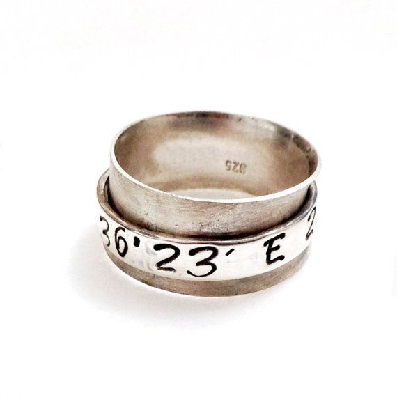 Personalized Spinner Ring Latitude Longitude, Sterling Silver Custom Coordinate Ring, Personalized Jewelry, Hand Stamped, Personalized Gift