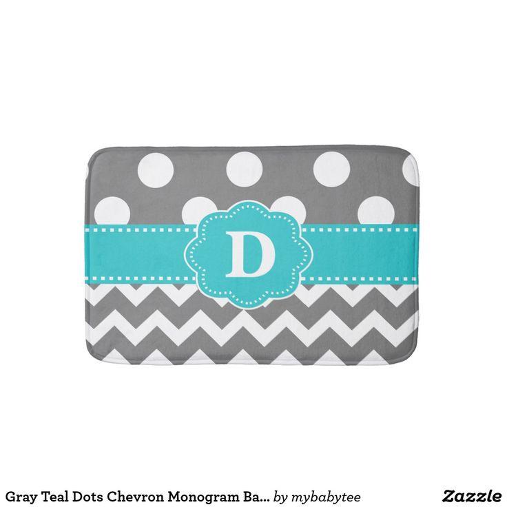 Gray Teal Dots Chevron Monogram Bathmat