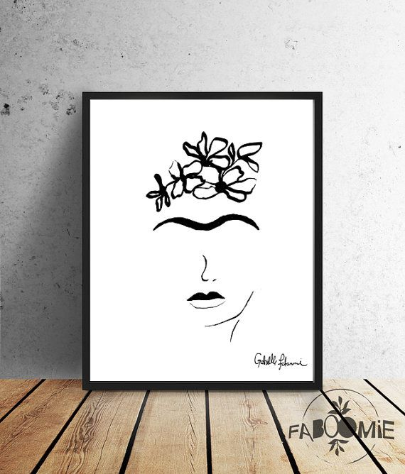 Frida Kahlo - INSTANT DOWNLOAD - black and white minimalist, wall decor, printable art, Frida Drawing by Faboomie