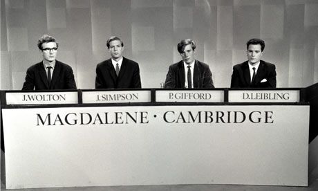 I enjoy  sitting  on  the  sofa  watching  University Challenge and just answering the science questions.