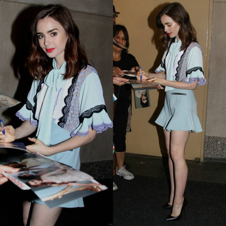 """@lilyjcollins arriving at the """"Today"""" show in NYC 