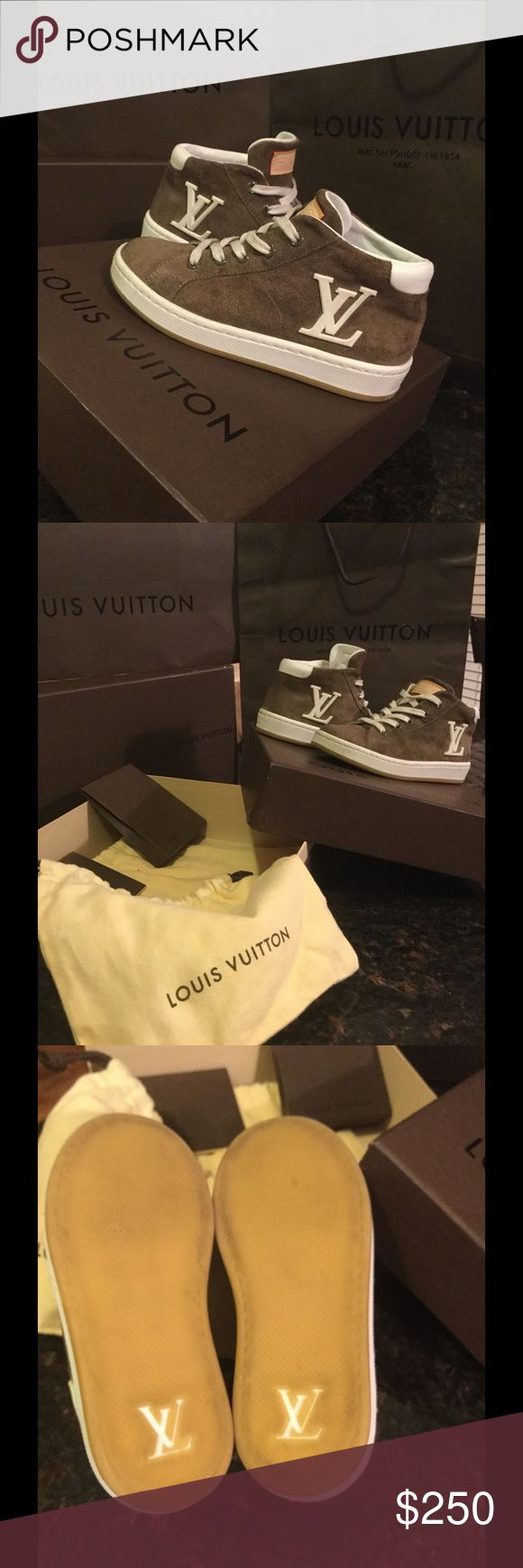 Authentic unisex Louis Vuitton hightops I bought these for my grandson and he wasn't allowed to wear them outside so they have never seen concrete there like brand spanking new shoes so cute but he grew out of them too fast so we had to buy new ones they are unisex good for girls or boys feel free to ask any questions you have or for any more pictures you might need you will not be sorry with the purchase of the shoes for your little diva or your little man that knows his style Louis Vuitton…