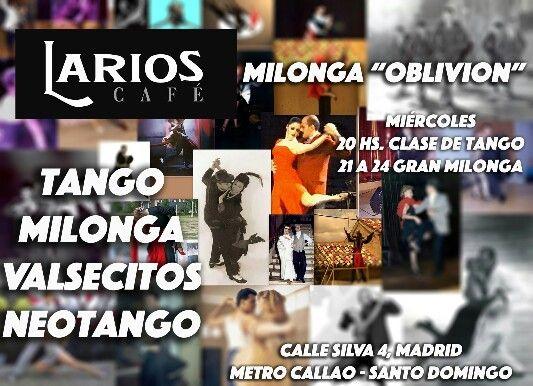 """Hoy Miércoles 1 de Julio Gran Milonga """"Oblivion"""". 20 horas Clase de Tango. 21 a 24 horas Gran Milonga. Entrada 7€ con una copa incluida."""