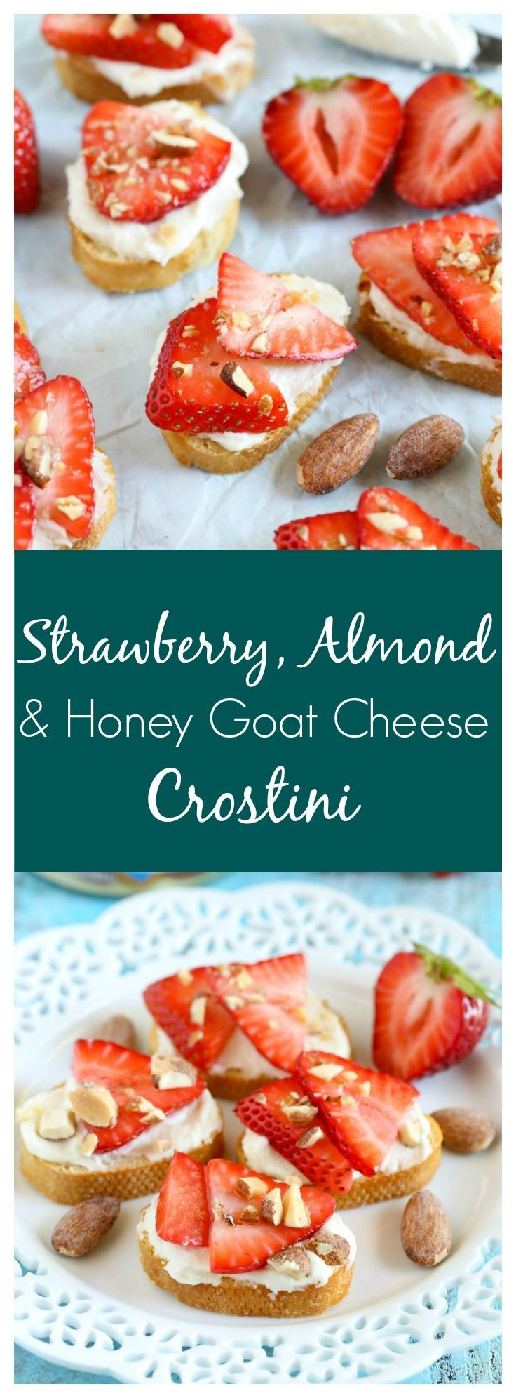 These Strawberry, Almond, and Honey Goat Cheese Crostini are so easy to make and perfect for summer! [ad]