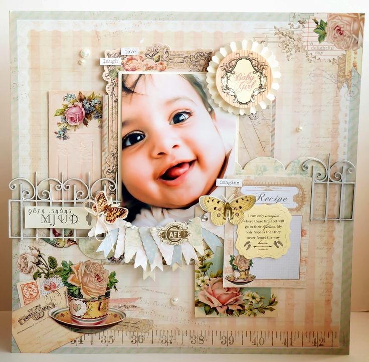 A layout featuring my second bub using gorgeous Prima stash, Kaisercraft stash and Memory Maze Chipboard