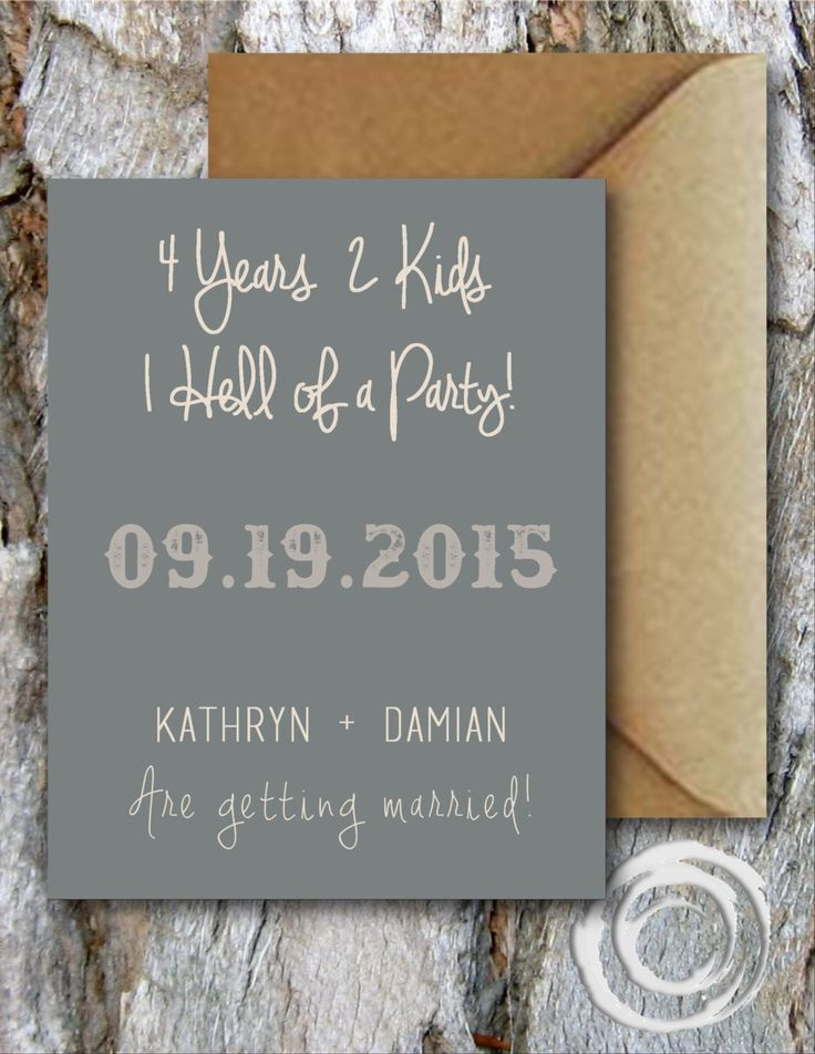 Funny Save the Date Card with a Country Chic meets Rustic feel. Wedding palette is a mix of greys, steel blue, khaki, and Kraft.   Years, Kids, One Hell of a Party Rustic Save the Date Card by FrozinMoments on Etsy https://www.etsy.com/listing/222062503/years-kids-one-hell-of-a-party-rustic