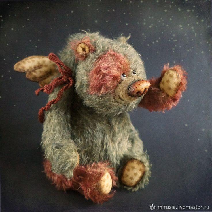 Купить Динь-Дон - ангел, рождество, зеленый, оливковый, мишка, ангелочек, мишка тедди, teddy
