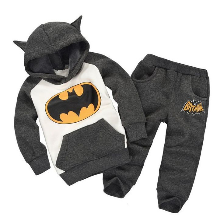 Autumn/Winter Unisex Baby Clothing Set with Batman Printed Hoodie and Long Sweatpants (2pcs) 1-6T