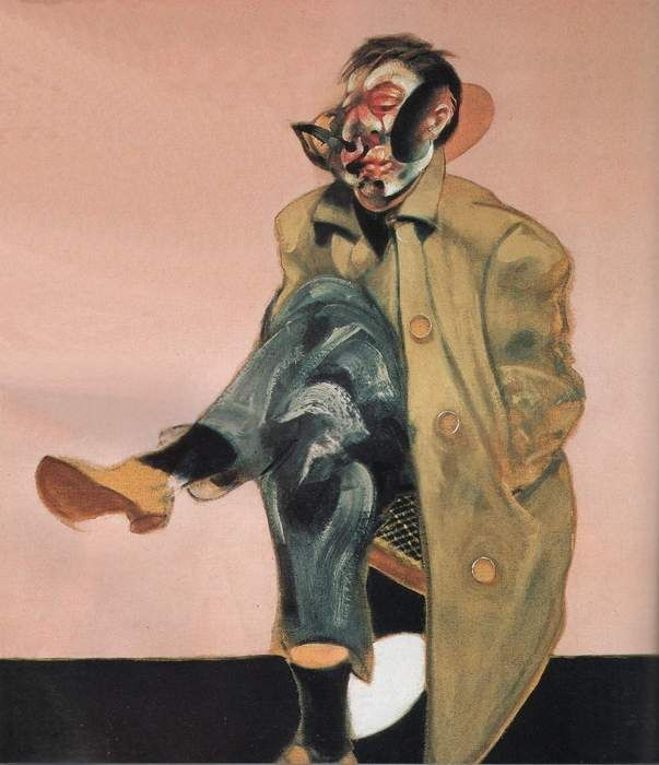 Francis Bacon, Self Portrait Seated, 1970: Bacon portrays himself before a glowing canvas and has laid open his own countenance in a characteristic swirl. The torso has seemingly vanished inside the overcoat; the legs emerge from the seat of the chair