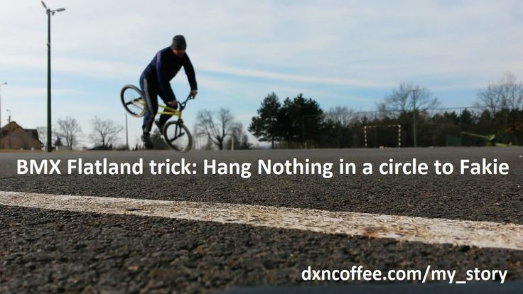 BMX Flatland short trick: hang nothing in a circle to fakie