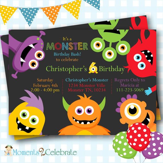 New Cute Monsters Birthday Invitations