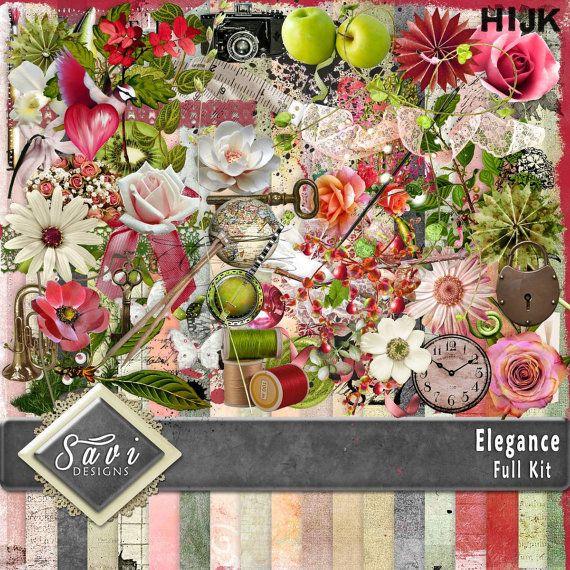 Digital Scrapbooking Kit ELEGANCE lots of lovely by SaviByDesign