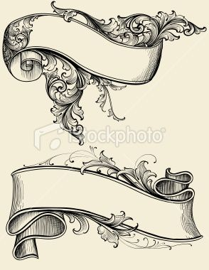 Ribbon and Scroll Royalty Free Stock Vector Art Illustration