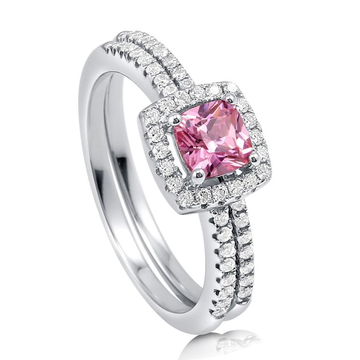 Pink Halo Ring Set #Berricle #Pink #Rings #Style #Fashion #Bling
