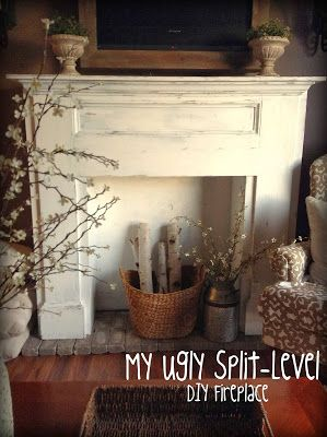 I like the decor around it- My Ugly Split-level: Living Room Update DIY fireplace