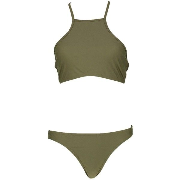 Boohoo Malta Crop Bikini (£17) ❤ liked on Polyvore featuring swimwear, bikinis, swim, high-waisted swimwear, triangle swimwear, bandeau bikini, triangle swim wear and high-waisted bikinis