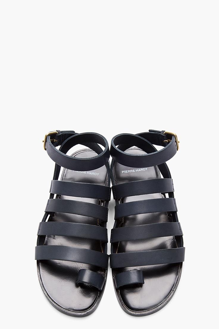 PIERRE HARDY Stone Grey Leather DY01 Gladiator Sandals