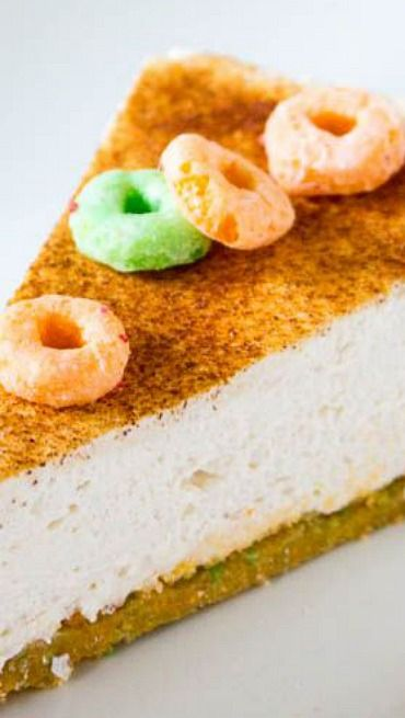 No Bake Apple Jacks Snickerdoodle Cheesecake...would use ground up sugar cookies for the crust to make just a no bake snickerdoodle cheesecake