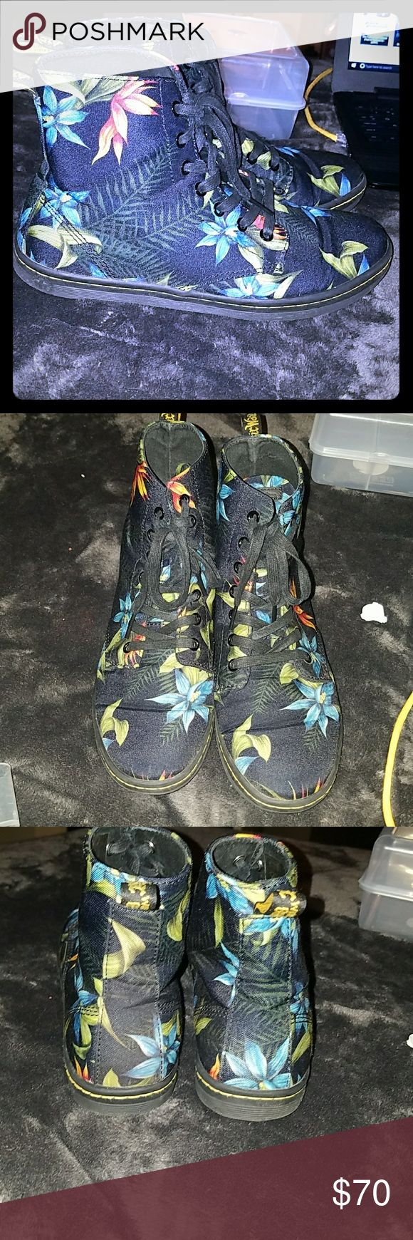 Flower Dr. Martens Flower Mr. Martens clean I only wore them once or twice. Dr. Martens Shoes Ankle Boots & Booties