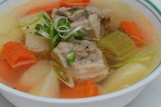 Vietnamese Soul Food: Pig Tail Soup -Canh Duoi Heo Reminds me of grandma's soup. Did not used pig tail, had pork shoulder bones in freezer. Roasted bones 450 for 45 mins then made soup. yummy!