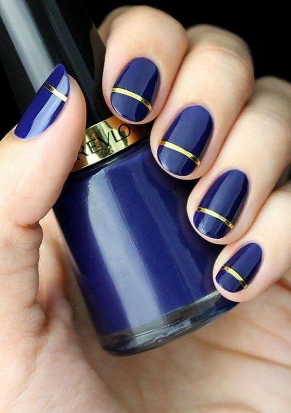 uñas azul elegante