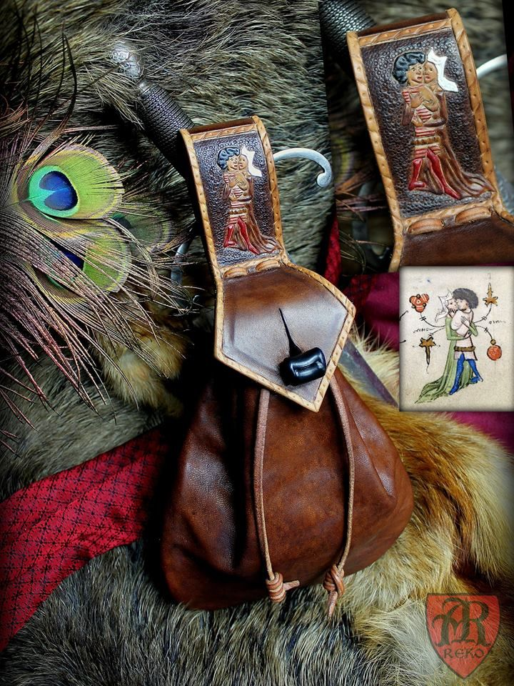 Medieval purse 15th century. Hand made by Pracownia REKO
