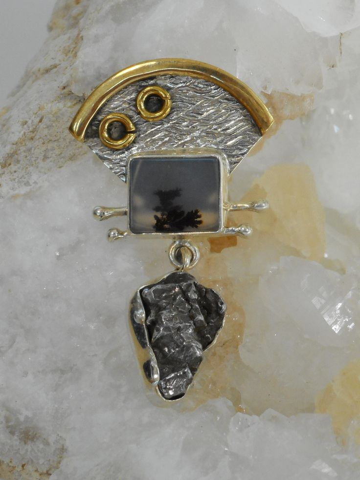 Hand-tooled sterling silver pendant base with natural Campo del Cielo Meteorite stone, paired with a polished rectangle Dendritic Opal stone on top, bezel set in 925-hallmarked sterling silver with br