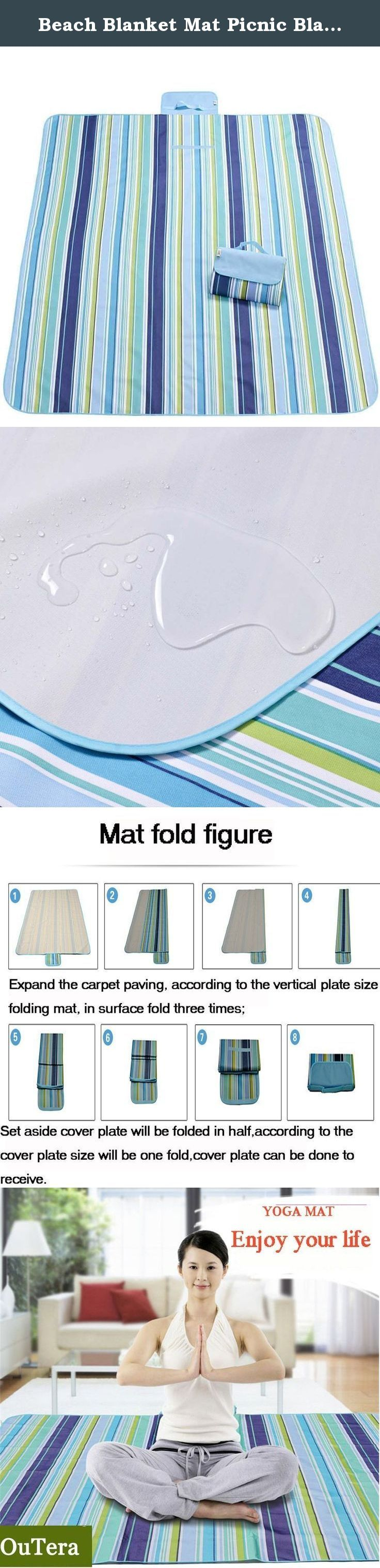 """Beach Blanket Mat Picnic Blanket Water Proof Outdoor Mat, Camping Blanket """"70x57"""" Water Resistant Top with Water & Stain Proof Bottom Large Mat Easy to Fold & Clean- Moisture-proof, Blue. Beach Blanket Mat Picnic Blanket Water Proof Outdoor Mat, Camping Blanket """"70x57"""" Water Resistant Top with Water & Stain Proof Bottom Large Mat Easy to Fold & Clean- Moisture-proof, Blue."""