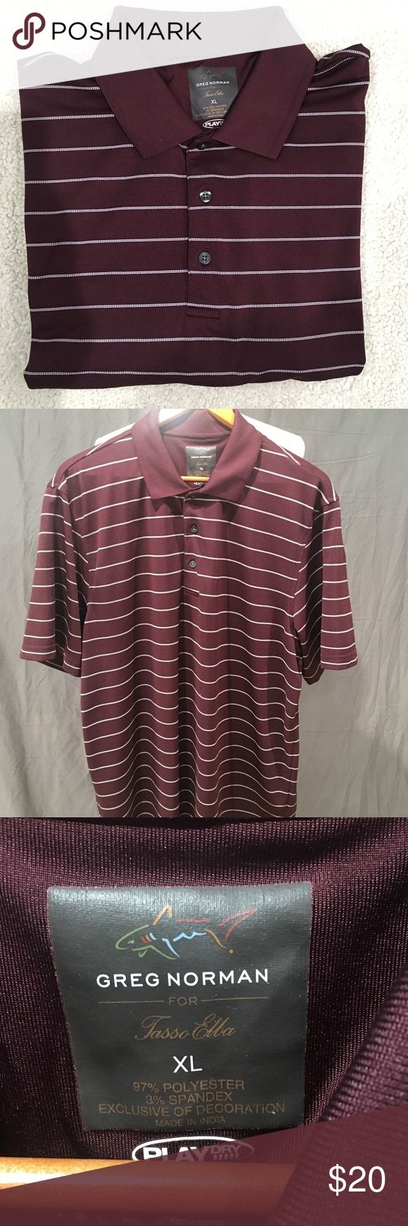 Greg Norman for Tasso Elba Golf Polo Shirt Excellent condition Greg Norman for Tasso Elba Play Dry golf polo shirt. Great maroon color with white horizontal pinstripes. Moisture wicking, breathable, and UPF sun protection. Size XL Greg Norman Shirts Polos