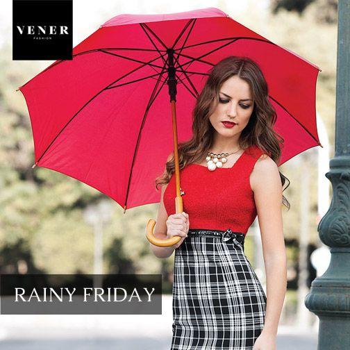 Σας ευχόμαστε ένα υπέροχο Σαββατοκύριακο... Και μην ξεχάσετε ούτε τις ομπρέλες σας ούτε το VENER σύνολό σας!  www.vener.gr #venerfashion #tartanskirt #redtop #womenfashion