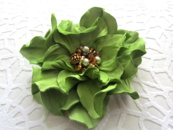 Handmade genuine leather flower brooch in bright green/ leather flower with beads/ brooch on purse