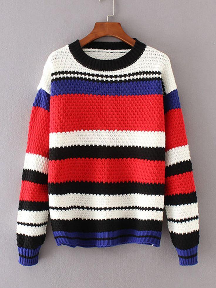 Sweaters by BORNTOWEAR. Block Striped Jumper Sweater
