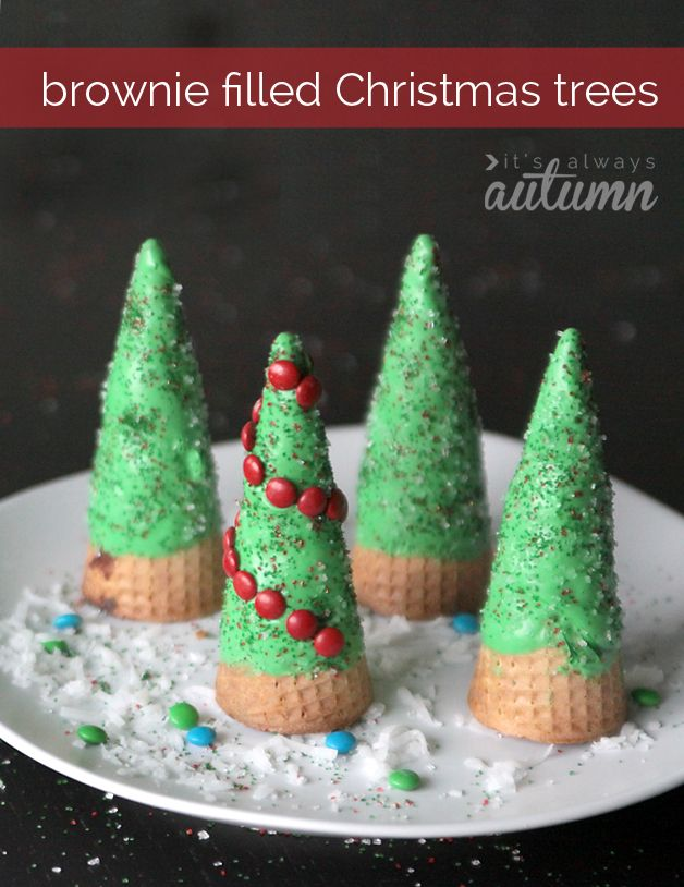 "Okay how cute are these?? Brownie filled ""Christmas tree"" cones!"