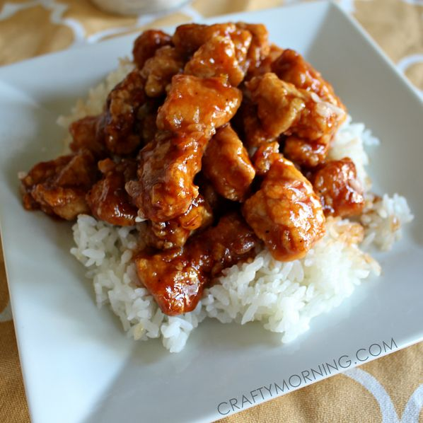 Here is my favorite 3-ingredient orange chicken recipe that uses sweet orange marmalade, soy sauce, and BBQ sauce. Better than chinese takeout!