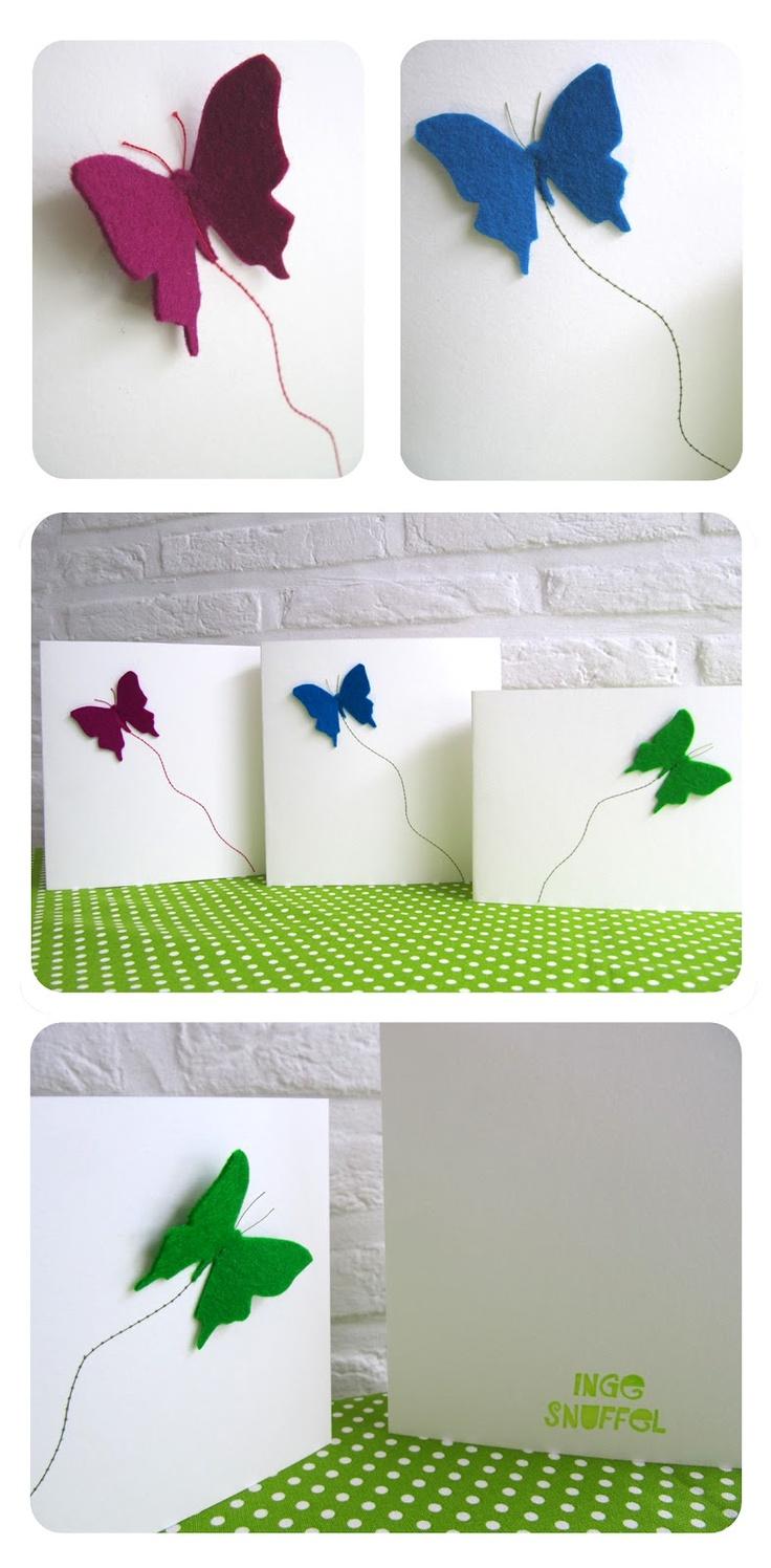 inge snuffel: kaartjes met vilten vlindertjes