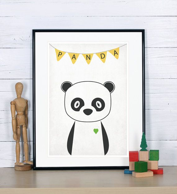 Retro poster - panda, forest animals - vintage print, A3, nursery wall decoration, retro wall decor, cute baby animal