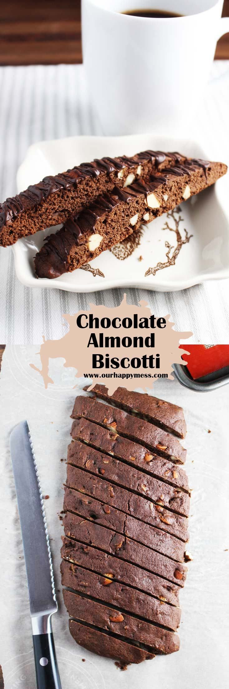 These almond chocolate biscotti are easy and fun to make. Drizzle them with chocolate for a sweeter cookie, or keep them plain for dunking in your coffee. Great for gifting too! #foodgift #biscotti #chocolatebiscotti