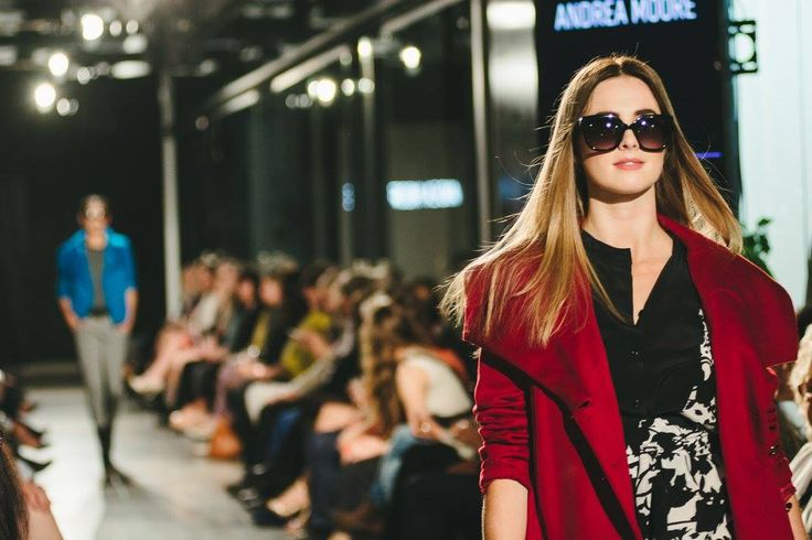 Red and Navy colours were a common theme throughout the Andrea Moore show.