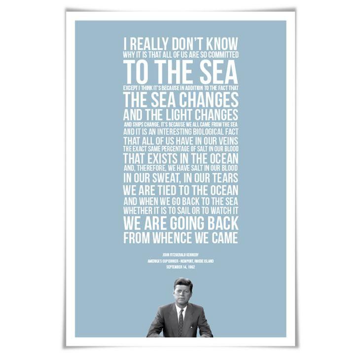 John Fitzgerald Kennedy Ocean Speech. JFK Presidential Speech. 60 Colours/5 Sizes. America's Cup Poster. Sailing Art Print