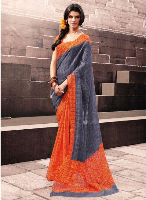 Fabulous Mix of Grey & Orange Bhagalpuri #Silk #Saree #clothing #fashion #womenwear #womenapparel #ethnicwear