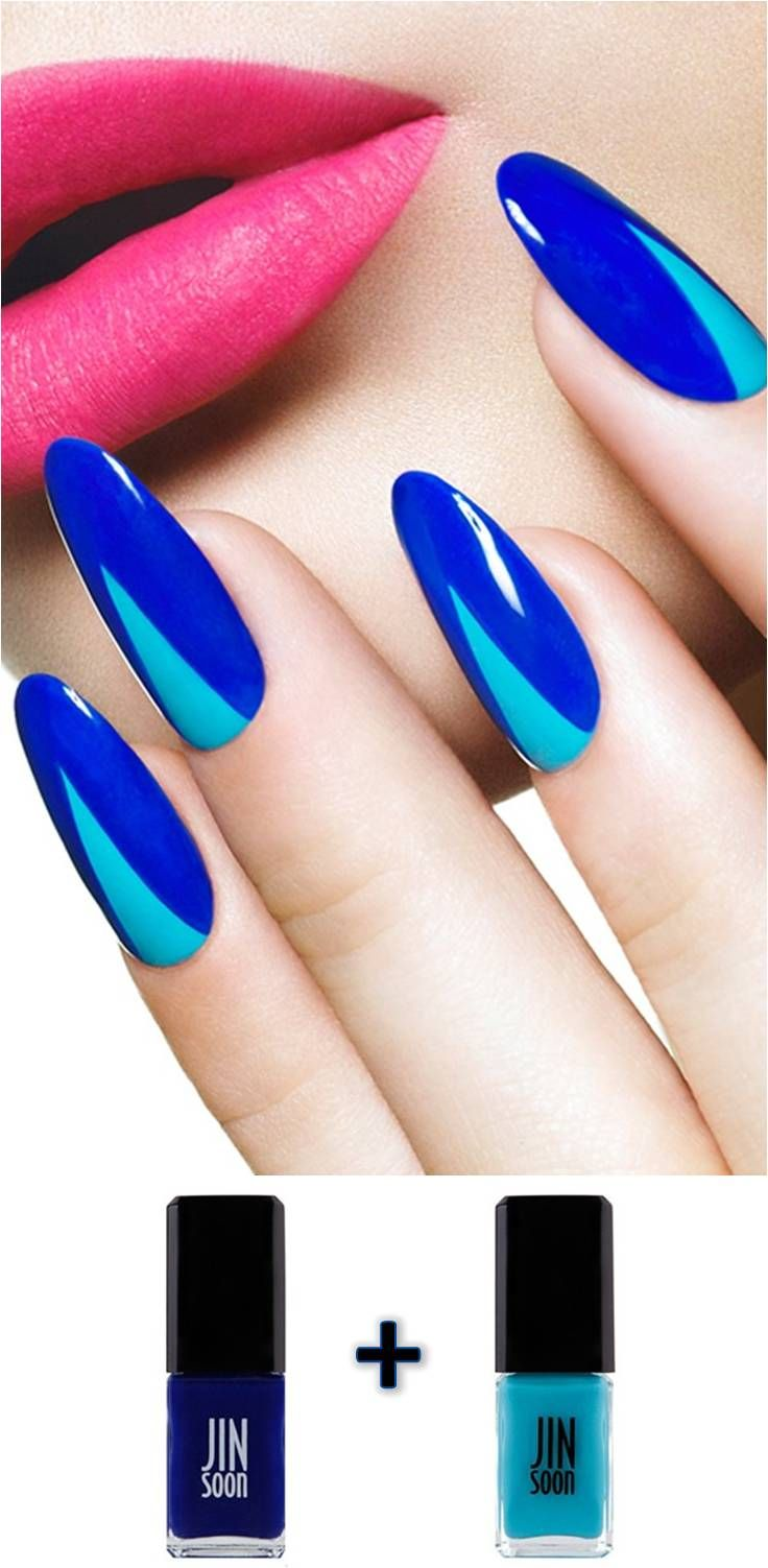 Refreshingly confident nails. This colour is always big AW, so get in line first and done some electric blue claws.....x