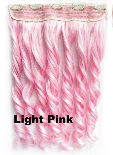 Ombre Colorful Candy 12Colors Clip in Hair Extensions 1Weft=5pcs Body Wave Texture Hair Synthetic Hair Extension, High Quality Wig U pickSize : Length:60cm(23.6