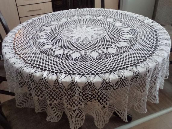 Large Round Table Cloth.Hand Crochet Vintage White Cotton Tablecloth Large Round Tablecloth