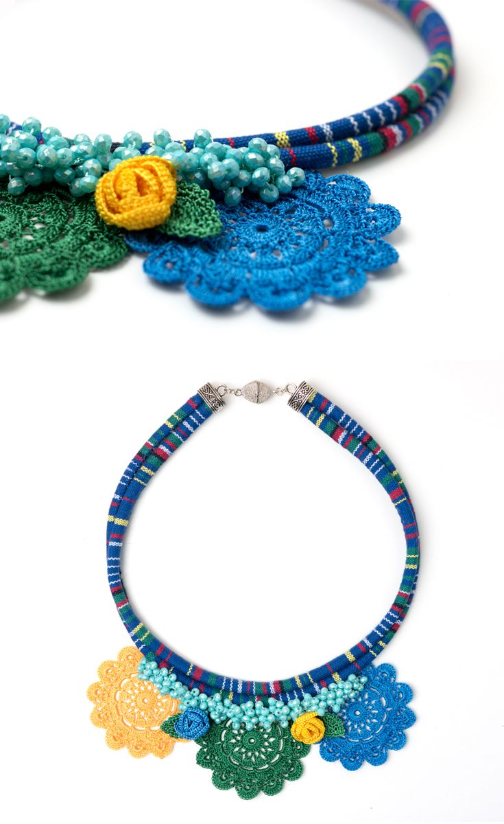 Ethnic Handmade Crochet Necklace,Crystal Beaded Statement Jewelry