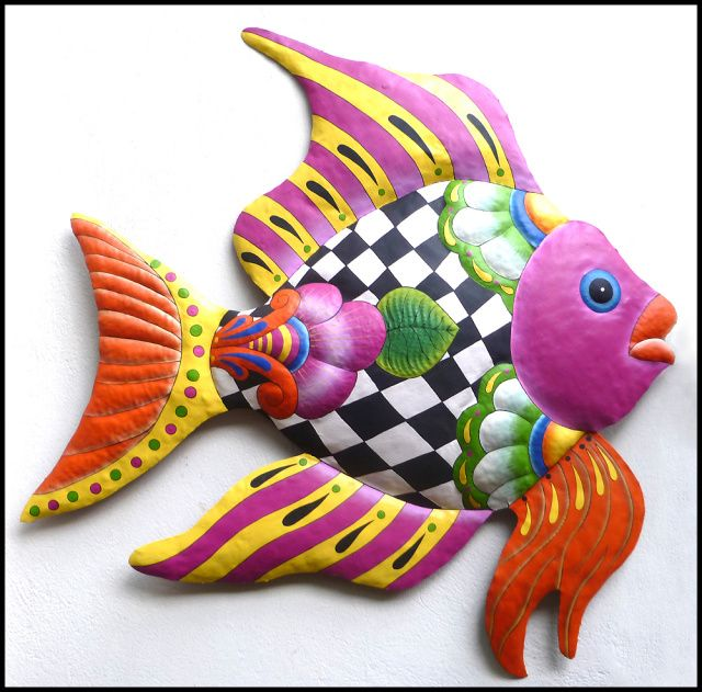 """NEW - Colorful Funky Tropical Fish Design - Painted Metal Garden Wall Hanging - Haitian Steel Drum Metal Art - 34"""" x 35"""" - See more hand painted metal tropical designs, for your home, at www.TropicAccents.com"""