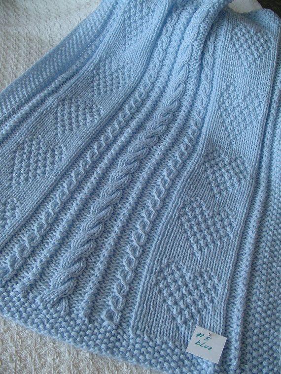 Baby Blanket #5*, Blue Baby Blanket, Handknit Baby Afghan, Handmade Blanket…