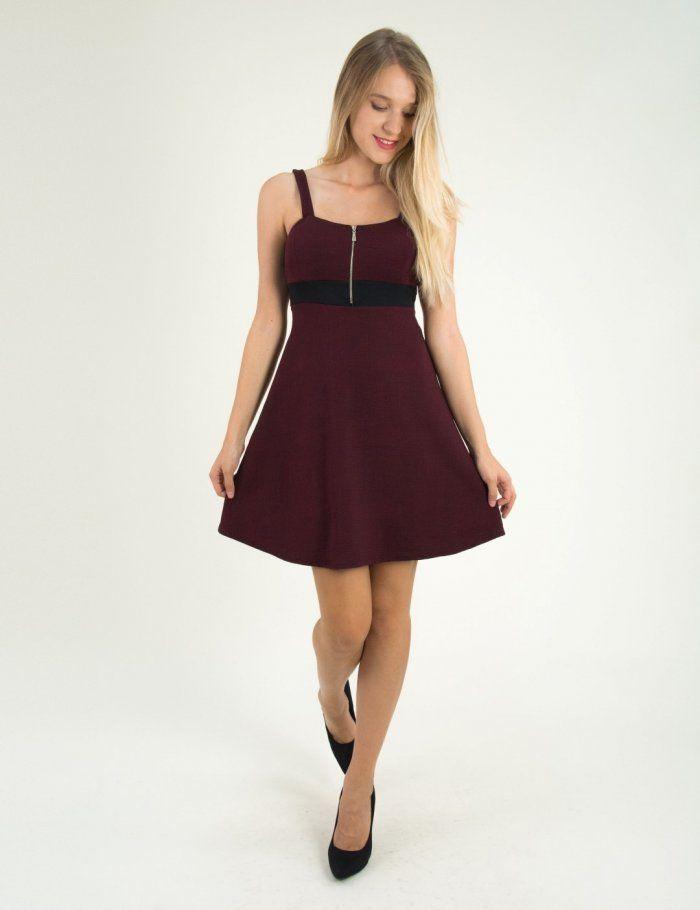 Γυναικείο μπορντό κλος φόρεμα με φερμουάρ 2191R  τορούχο  torouxo  foremata   φορέματα   6c5e9830373